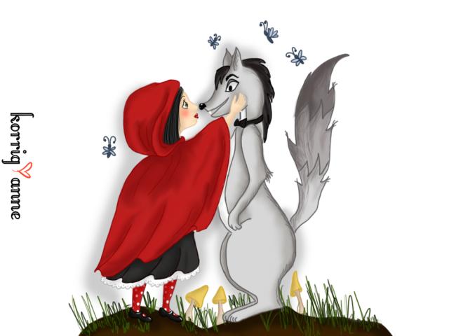 petit chaperon rouge fond blanc