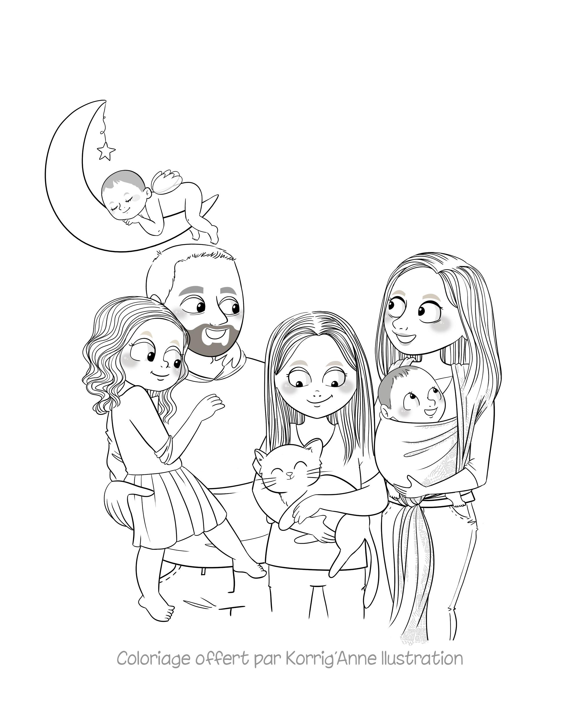 Portrait de famille coloriage gratuit   Korrig'Anne